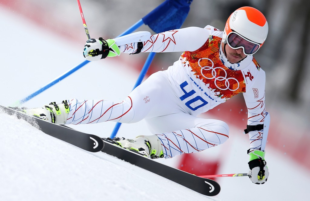Jared Goldberg in the 2014 Sochi Olympic giant slalom. GEPA/Christian Walgram