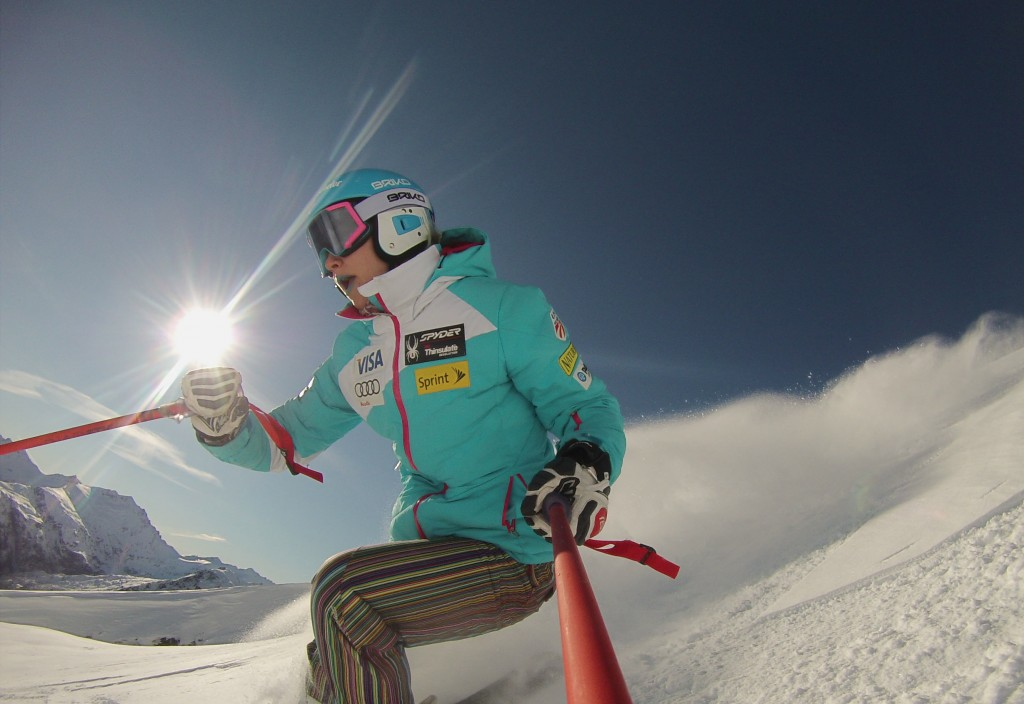 Laurenne Ross sports her new Briko wares while heli-skiing in New Zealand. Briko