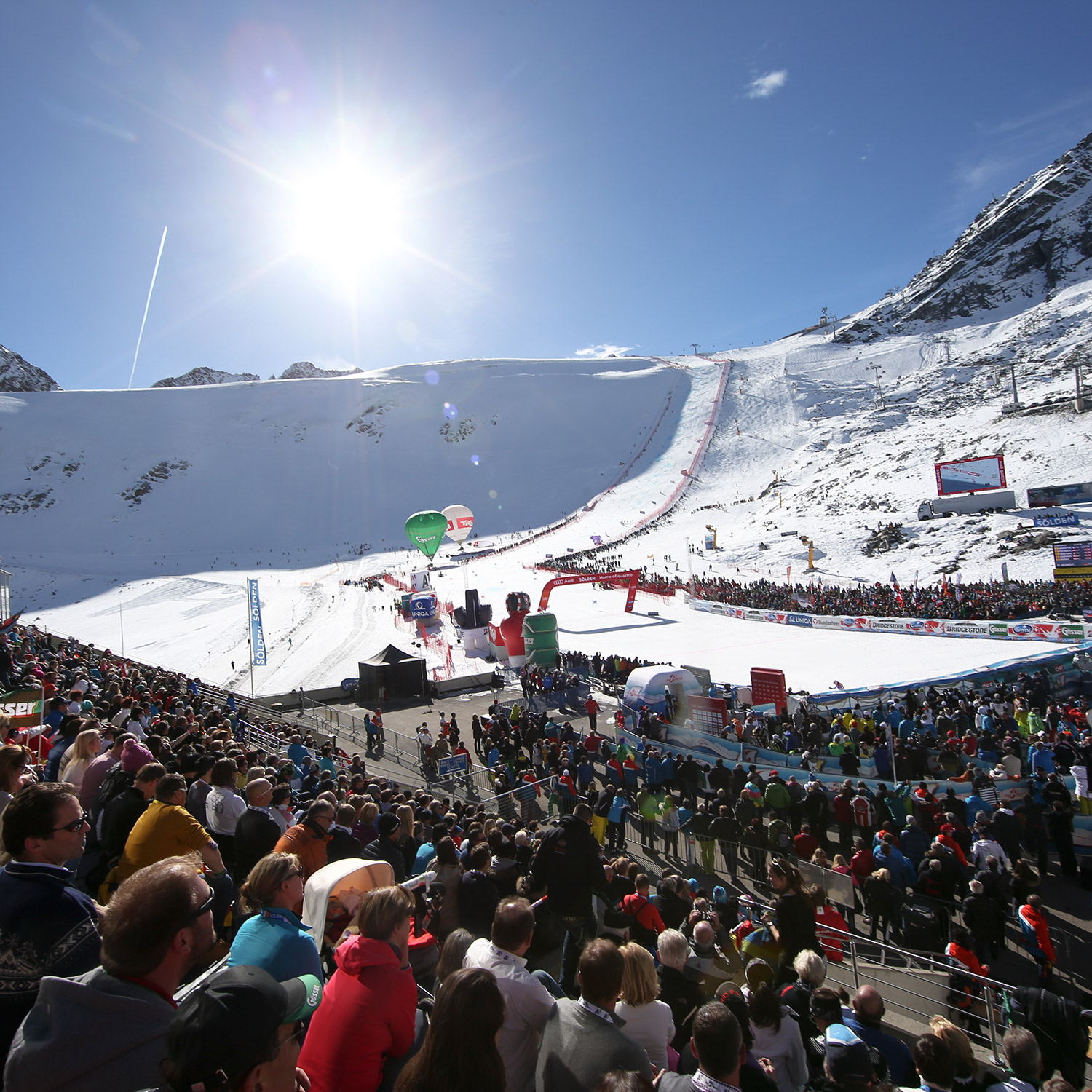 Fans crowd the finish area in Soelden. GEPA