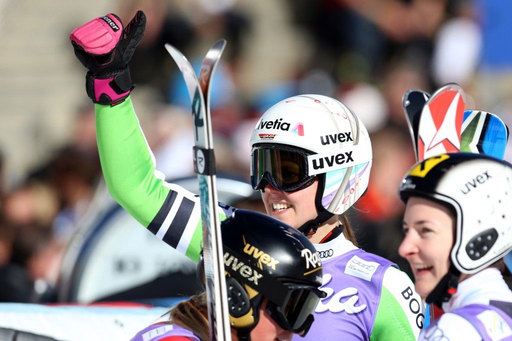 Viktoria Rebensburg celebrates after finishing third in the 2013 Soelden World Cup. GEPA