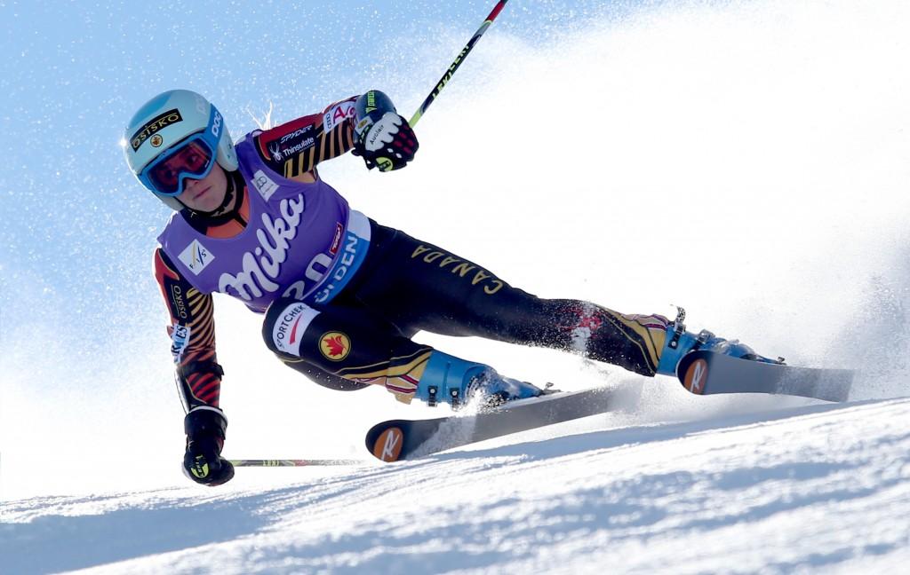 Marie-Michele Gagnon in the 2013 Soelden giant slalom race. GEPA