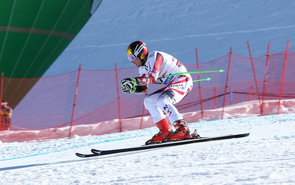 Soelden race winner Marcel Hirscher on Marker plates and bindings. GEPA