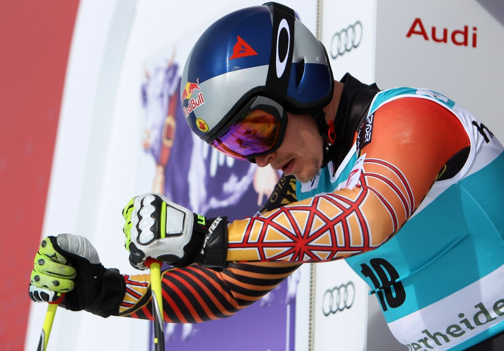 Erik Guay in downhill training at 2014 World Cup Finals. GEPA