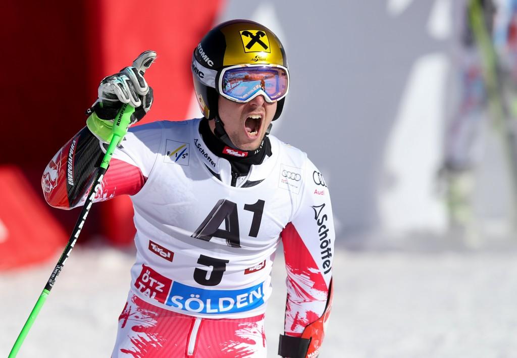Marcel Hirscher in the finish area following second run in Soelden. GEPA