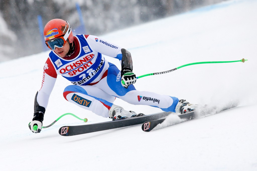 Patrick Kueng on his way to his first World Cup SG victory in 2013. GEPA/Wolfgang Grebien