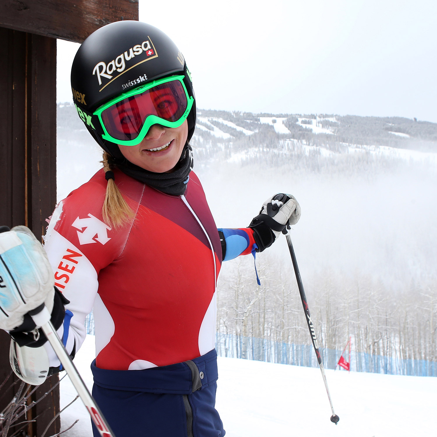 Lara Gut is among the international racers who's stopped by to run gates on Golden Peak.