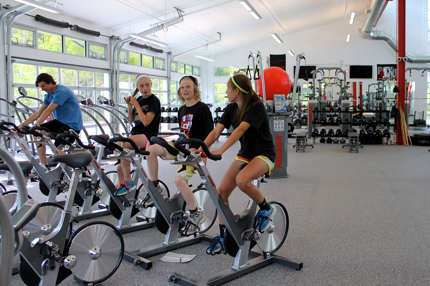 Athletes warm up with a quick spin at the new SSCV Minturn Fitness Center. Geoff Mintz/SR