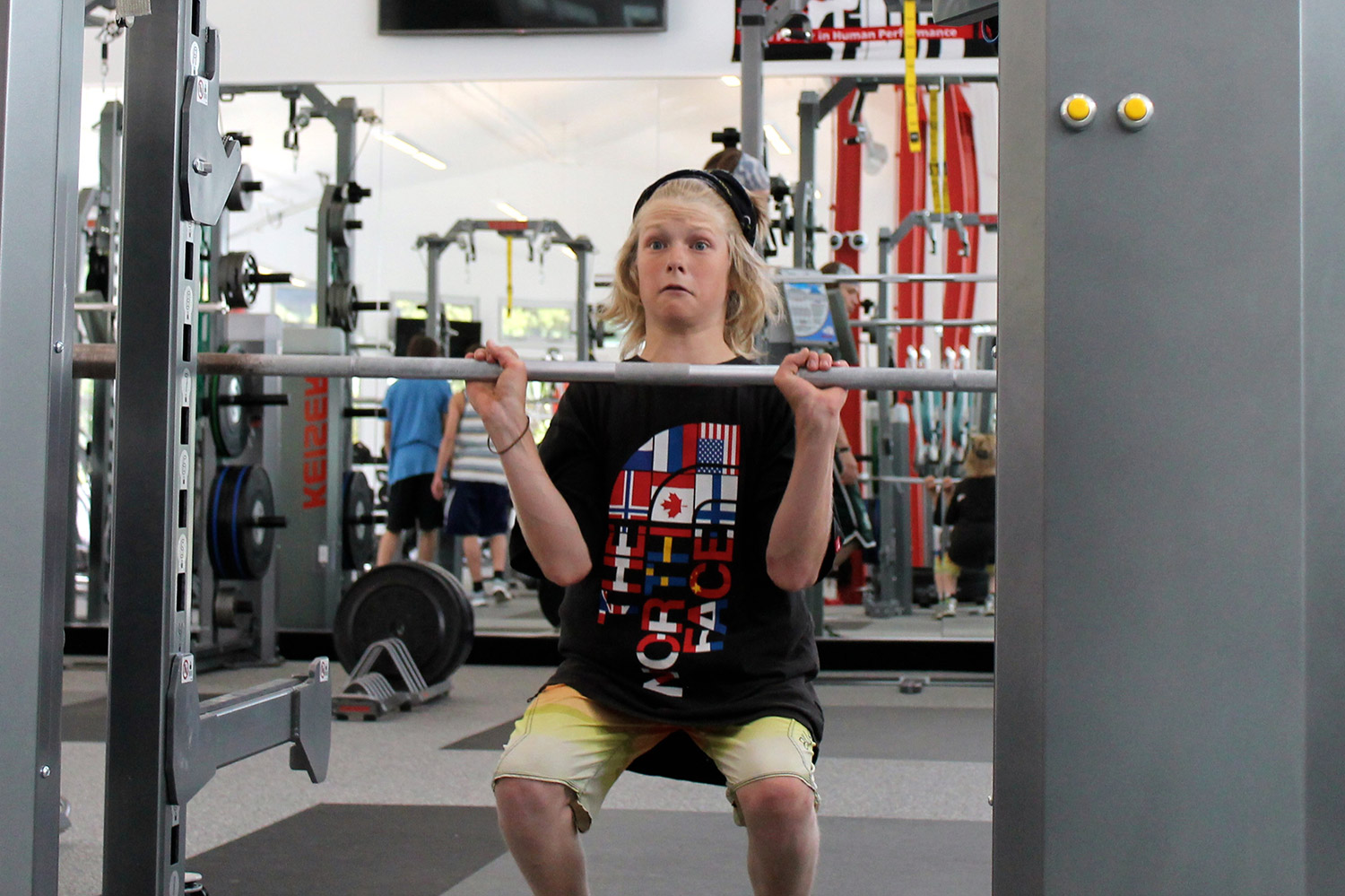 Ezra Cope, a VSSA student and SSCV mogul athlete, makes use of the new fitness center in Minturn. Geoff Mintz/SR