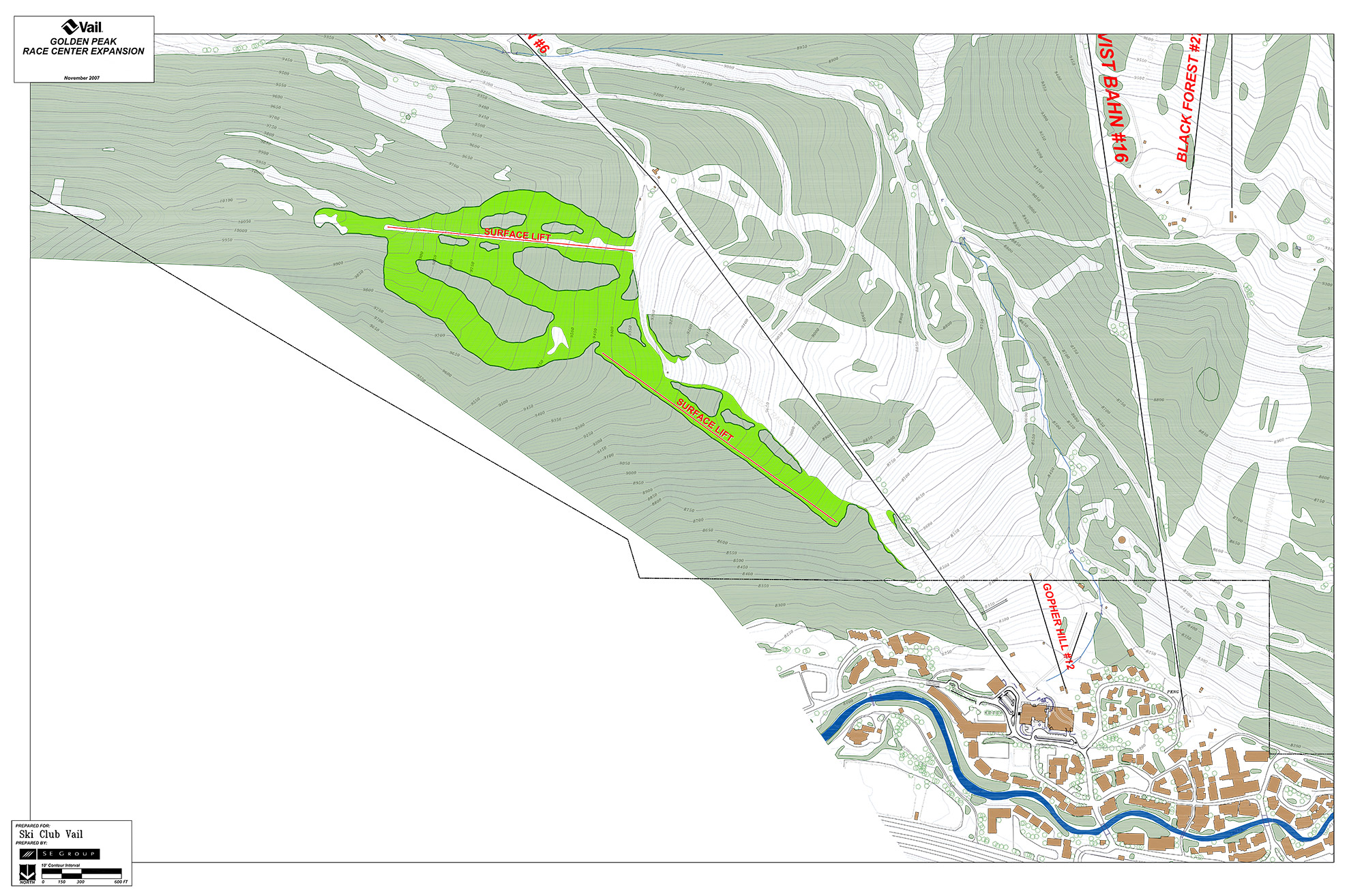 The green area outlines the proposed new trail areas above Golden Peak, which would accommodate speed, tech and freestyle. Two new surface lifts are also shown. Courtesy of SSCV.