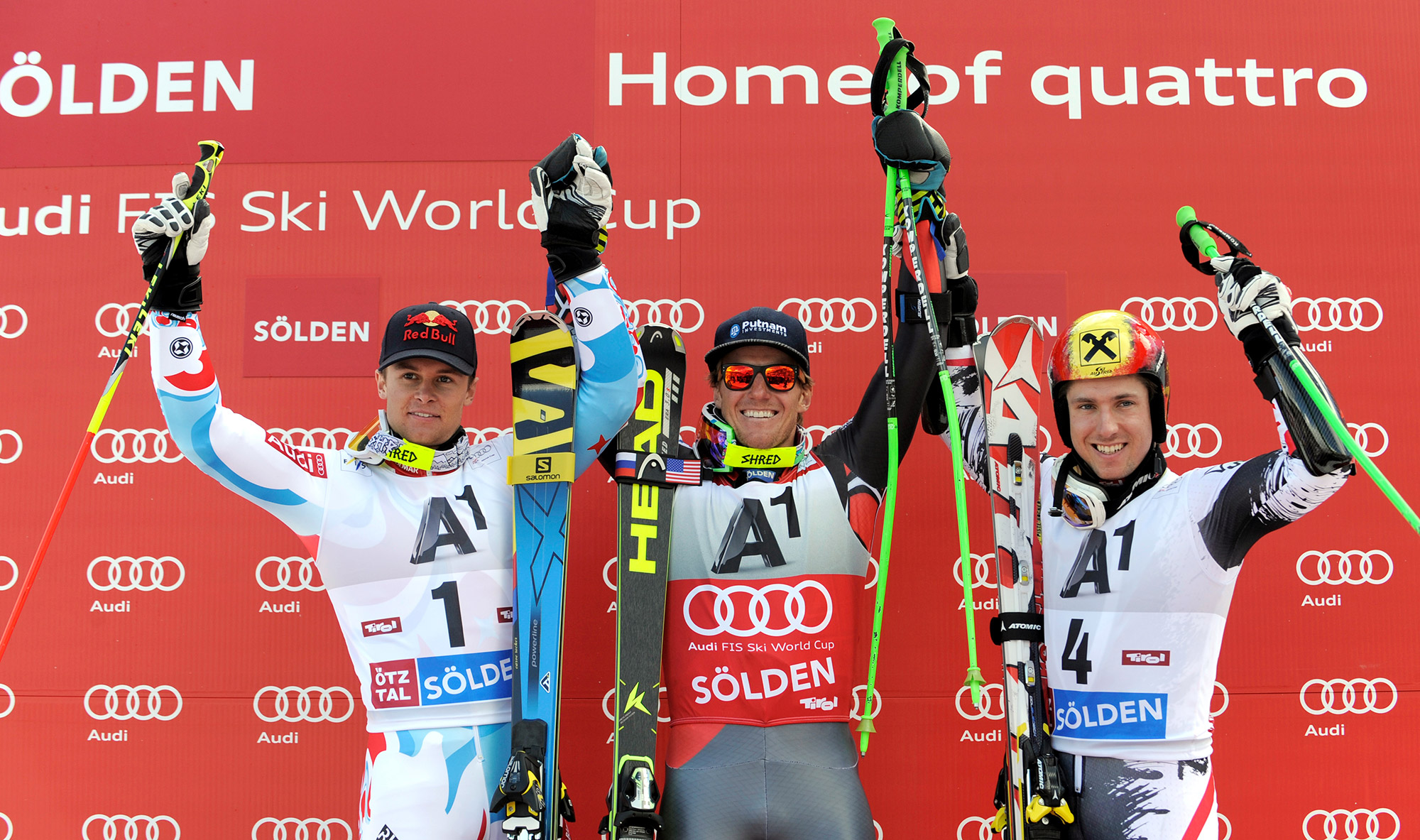 Last season's podium: Ligety, Alexis Pinturault and Marcel Hirscher.