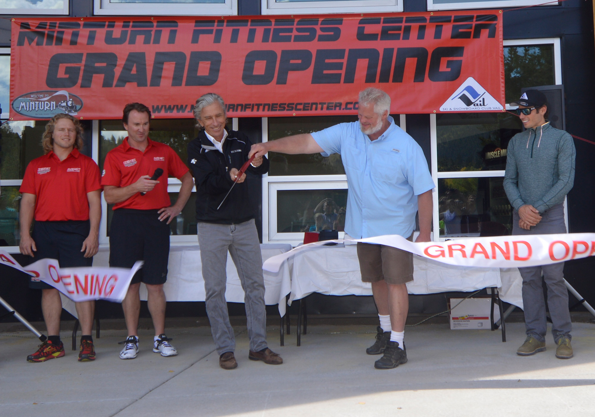 SSCV Executive Director Aldo Radamus helps cut the ribbon at the Minturn Fitness Center, now open to club athletes and local gymgoers. Courtesy of SSCV.