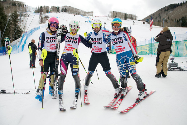 Schleper sports her Vail 2015 bib during training at Vail with Mikaela Shiffrin, Resi Stiegler, and Hailey Duke.