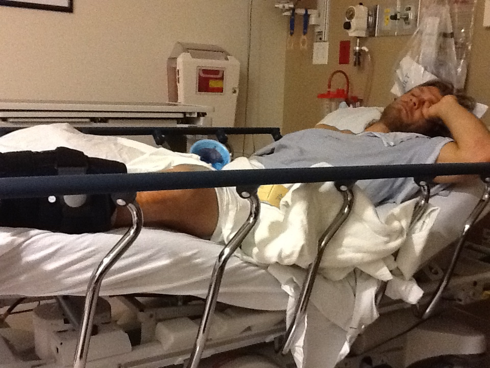 Steven Nyman lies in recovery in Utah after surgery to repair his Achilles tendon in 2011. Courtesy of Steven Nyman