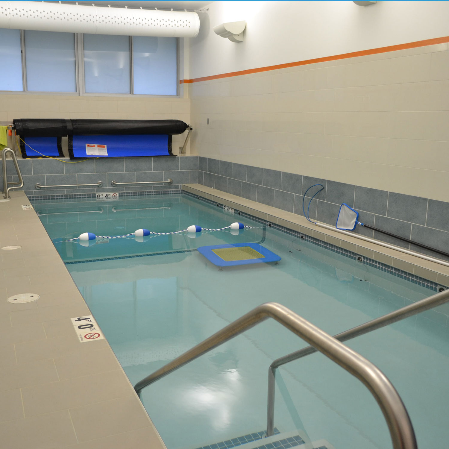 The multi-depth pool was designed for jumping workouts and to aid athletes returning from injury.