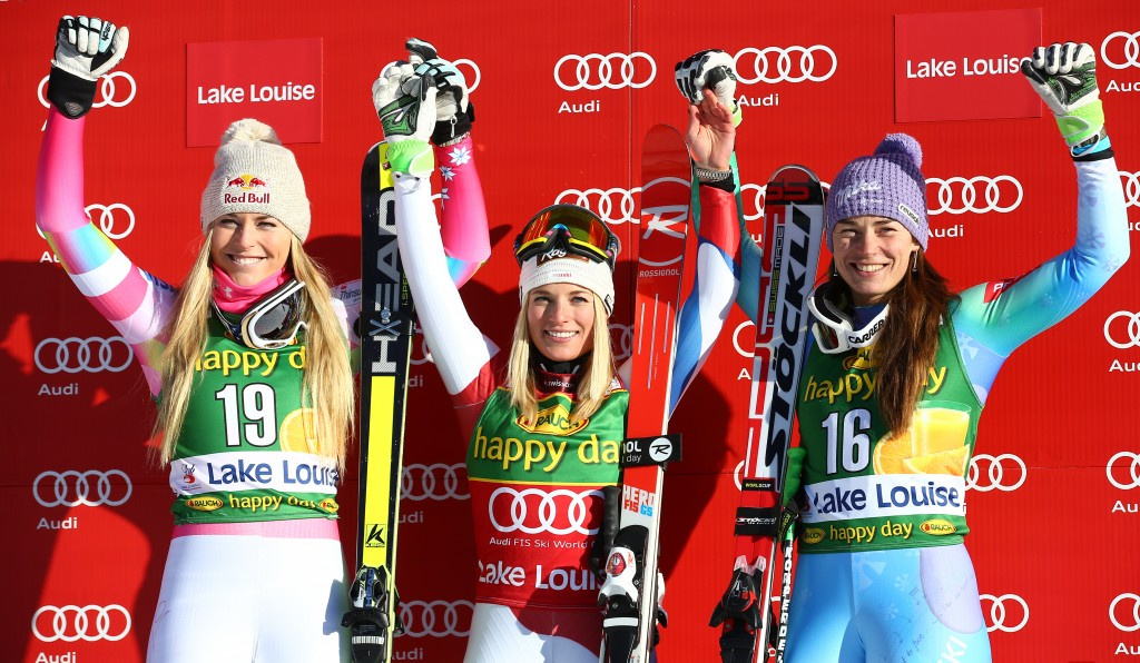 Vonn, Gut, and Maze on the super G podium in Lake Louise. GEPA