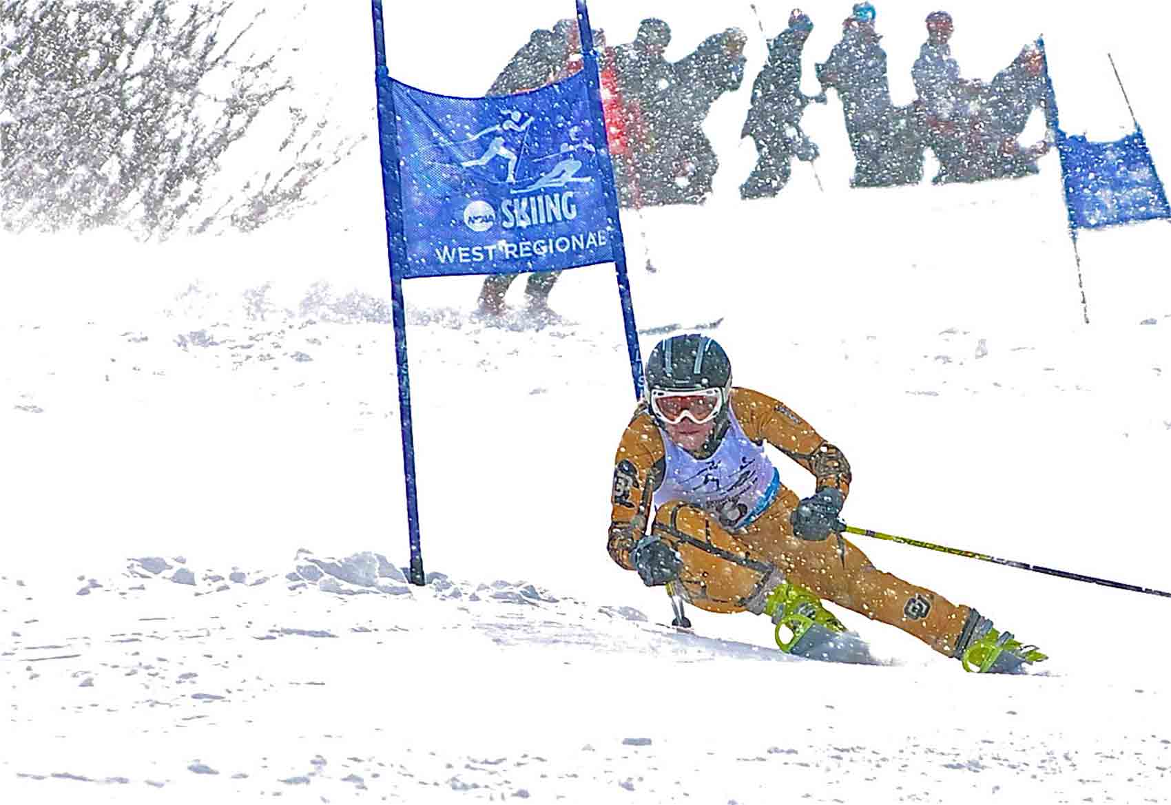 Katie Hartman, fourth in the World University Games super G Jan. 29, skiing for CU last season