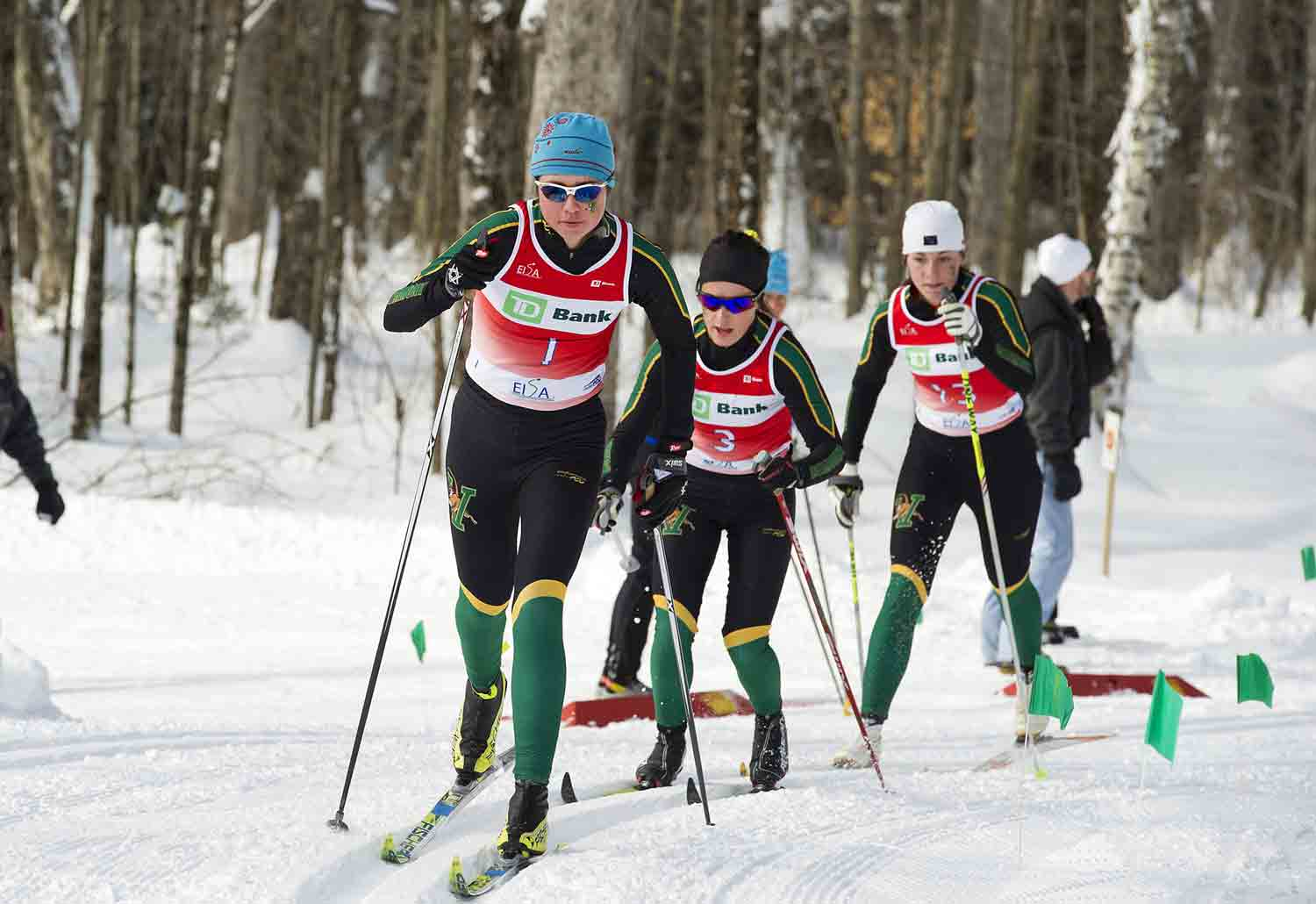 UVM ladies Patterson, Glen and Garrec en route to podium sweep at UVM Carnival. Credit: Ellen and Dennis Curran