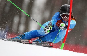 Tina Maze on her way to gold in Sochi GS. (GEPA)