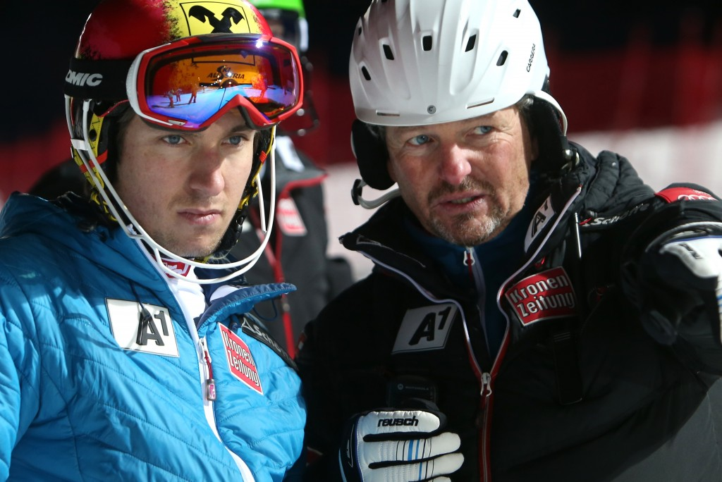 Mathias Berthold working with Marcel Hirscher in Bormio this season. GEPA/Christian Walgram