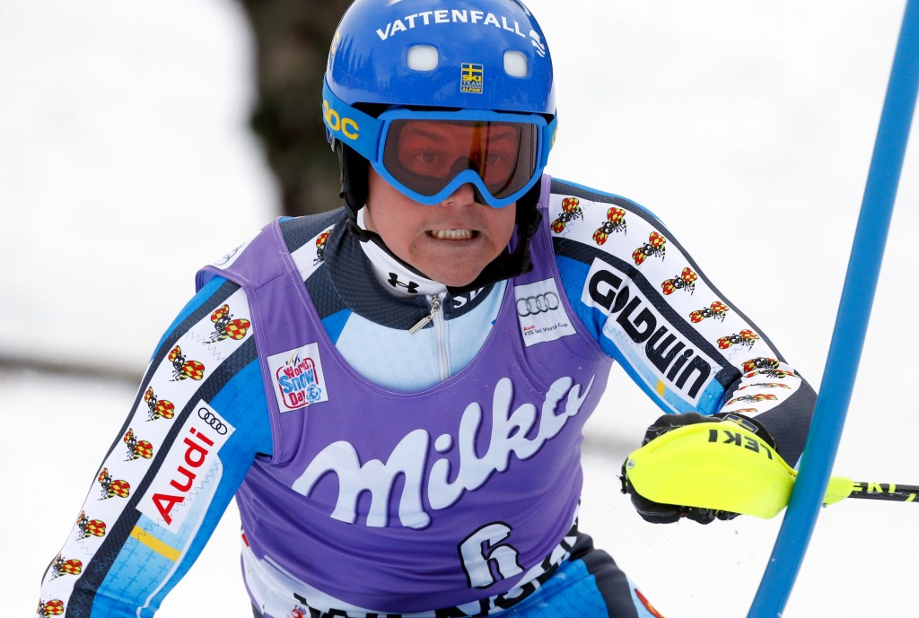 Sweden's Mattias Hargin at the 2014 Wengen slalom. GEPA/Wolfgang Grebien