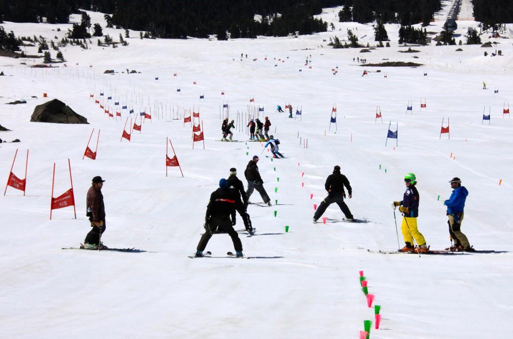 Multiple drills set up for the men's slalom camp. Lester Keller