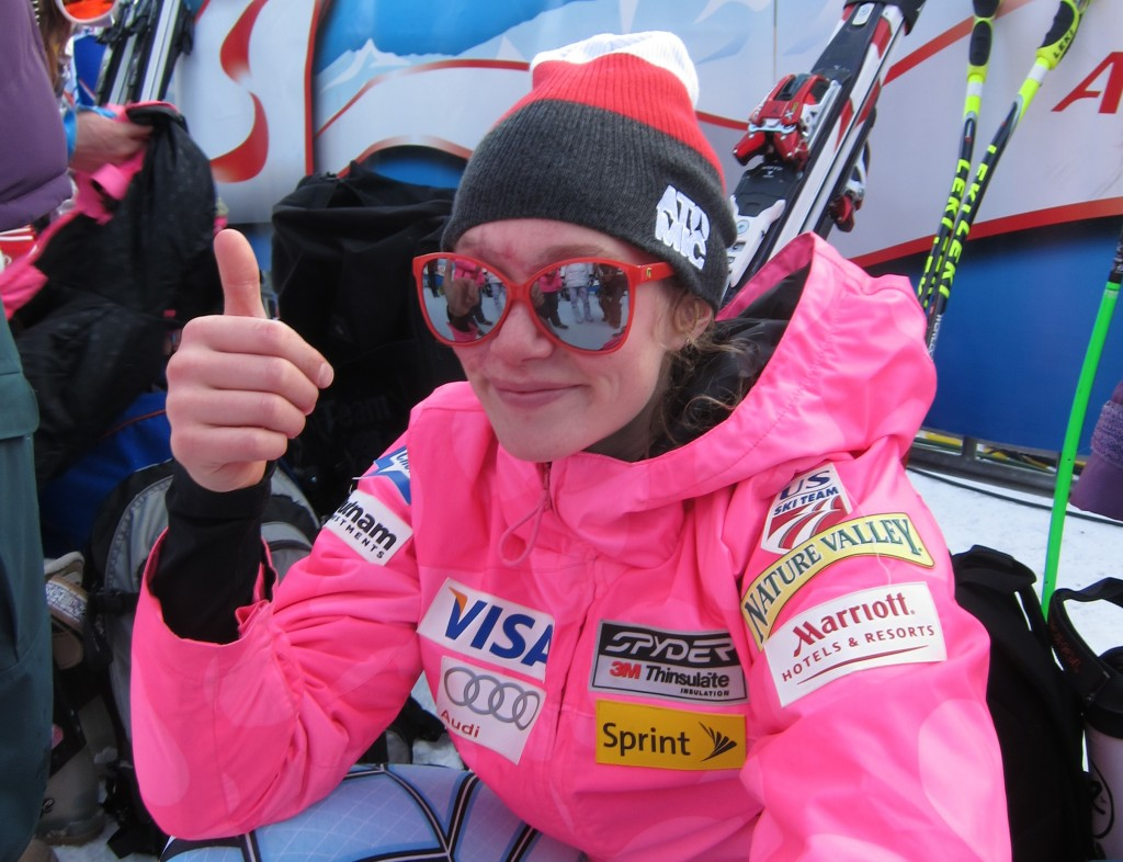 Laurenne Ross throws a thumbs up in the finish area in 2012. USST/Doug Haney