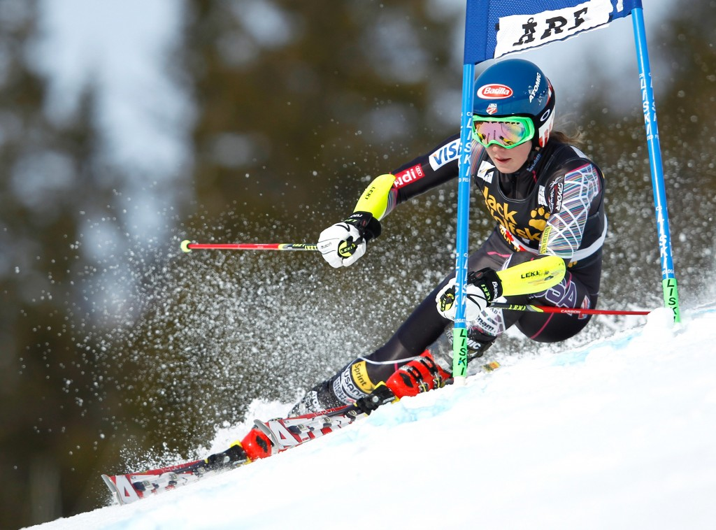 Mikaela Shiffrin at the 2014 Are World Cup GS. GEPA/Harald Steiner