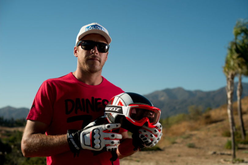 Bode Miller makes a helmet and protective equipment change. Dainese